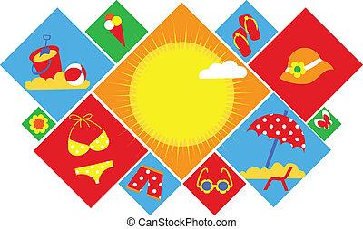лето, задавать, красочный, icons., holidays, счастливый