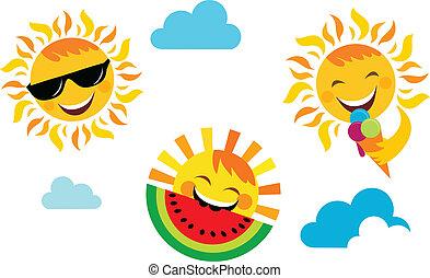 лето, задавать, icons, солнце, vacation;, счастливый