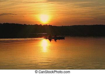лето, закат солнца, против, kayakers