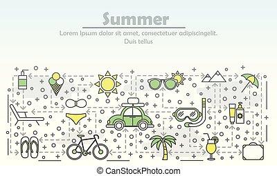 лето, изобразительное искусство, квартира, иллюстрация, вектор, реклама, линия