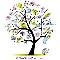 лето, концепция, дерево, день отдыха, дизайн, ваш