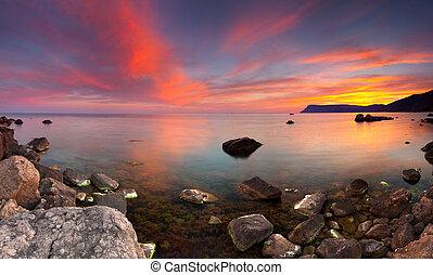 лето, красочный, морской пейзаж
