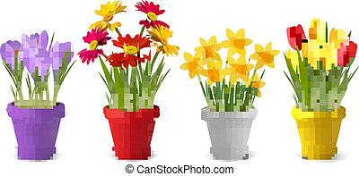лето, красочный, can., весна, полив, pots, коллекция, вектор, цветы