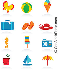 лето, красочный, icons