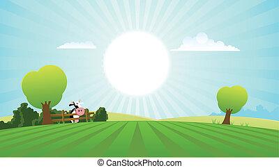 лето, молочные продукты, корова, пейзаж