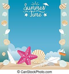 лето, оболочка, пляж, море