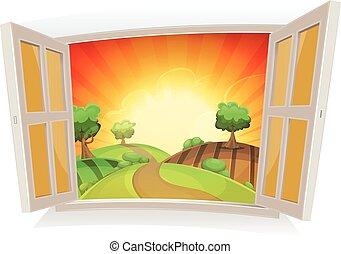 лето, окно, открытый, пейзаж, сельский