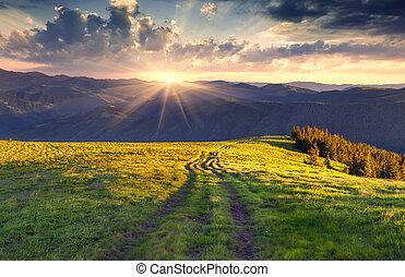 лето, пейзаж, красочный, mountains