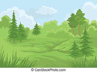 лето, пейзаж, лес