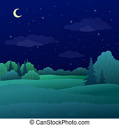 лето, пейзаж, лес, ночь