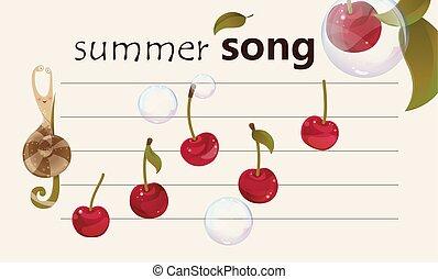 лето, песня, -, фруктовый, задний план, музыкальный