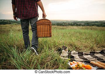 лето, пикник, поле, корзина, человек, мужской