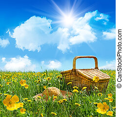 лето, пикник, солома, поле, корзина, шапка