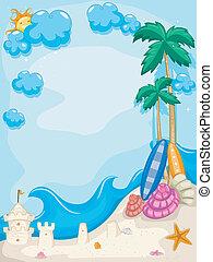 лето, пляж, задний план