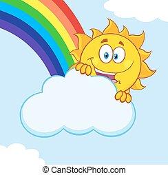 лето, радуга, солнце