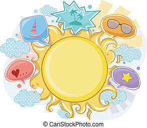лето, рамка, задний план, солнце