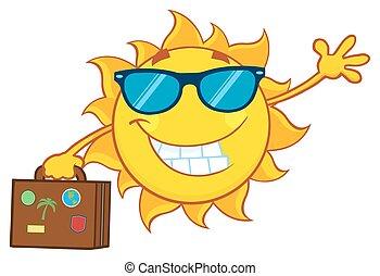лето, улыбается, солнечные очки, солнце