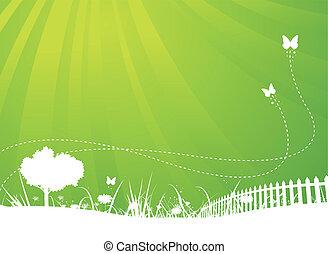 лето, butterflies, сад, задний план, весна