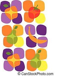 лето, icons, здоровый, иллюстрация, фрукты, вектор
