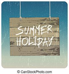 лето, poster., вектор, день отдыха