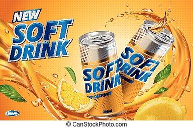 лимон, напиток, мягкий, новый