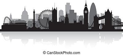 линия горизонта, лондон, город, силуэт