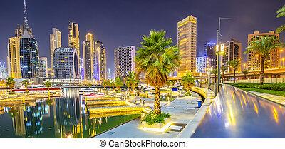 линия горизонта, emirates, бизнес, район, дубай, единый, арабский, ночь, бухта