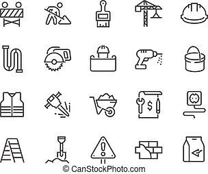 линия, строительство, icons