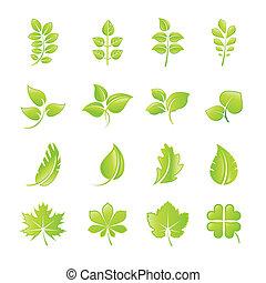 лист, задавать, icons, зеленый