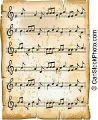 лист, музыка, старый