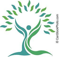 лист, природа, people., дерево, вектор, здоровье, логотип, символ
