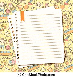 лист, текст, порванный, блокнот, вектор, задний план, children