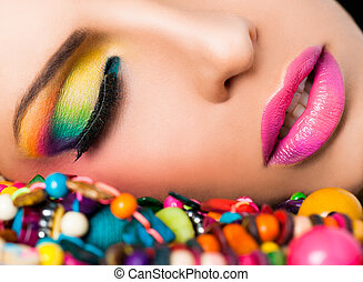 лицо, губы, женщина, colourful, make-up