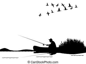 ловит рыбу, лодка