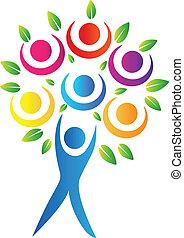 логотип, абстрактные, дерево
