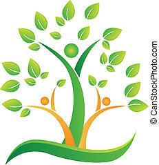 логотип, абстрактные, дерево, люди