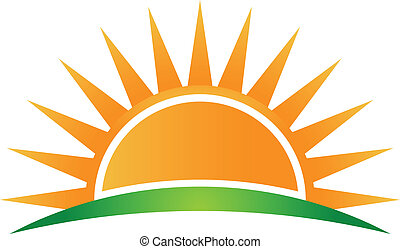 логотип, вектор, горизонт, солнце