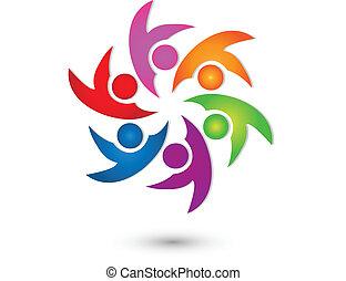 логотип, вектор, группа, счастливый, командная работа