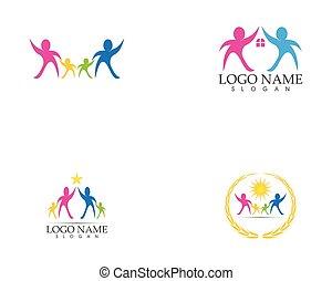 логотип, вектор, здоровье, забота, семья