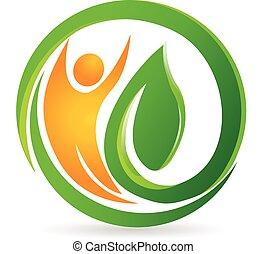 логотип, вектор, здоровье, природа, человек