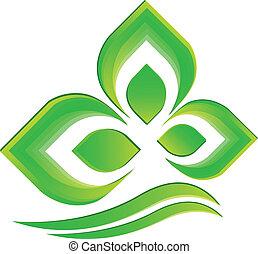 логотип, вектор, зеленый, растение
