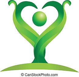 логотип, вектор, зеленый, фигура, природа