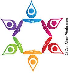 логотип, вектор, йога, люди, командная работа