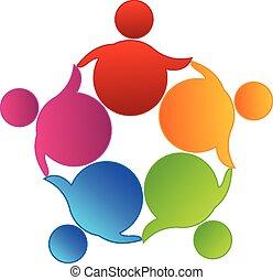 логотип, вектор, командная работа, бизнес
