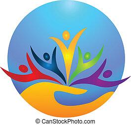 логотип, вектор, счастливый, люди
