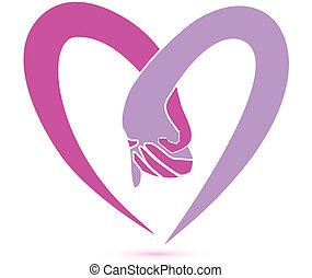 логотип, вместе, руки