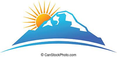 логотип, гора, горизонт, солнце