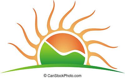 логотип, гора, солнце