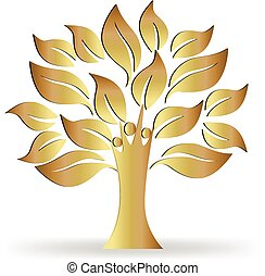 логотип, дерево, золото, люди