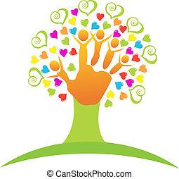 логотип, дерево, children, руки